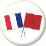 France and Morocco Friendship Flag 25mm Pin Button Badge